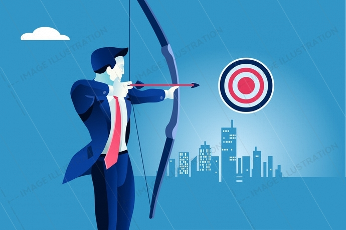 Success. Businessman aiming target. Concept business vector illustration.
