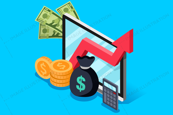 Investment or finance report of income increase. Financial currency earn concept. Isometric design vector illustration.