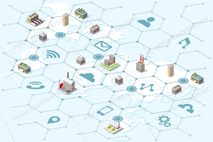 Global business trade network and international logistics strategy. Isometric map with factory and logistics icons. Vector illustration.