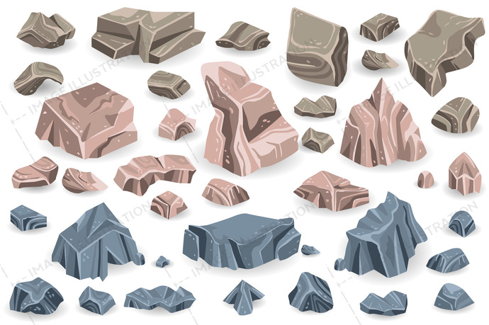 Stone rock vector rockstone of rocky mountain in rockies mountainous cliff with stony geological materials and stoniness minerals illustration set isolated on white background