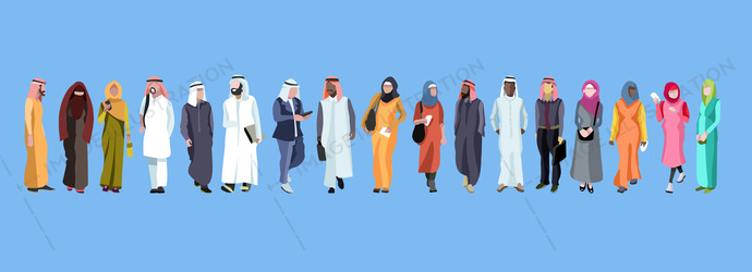 Traditional group of male and famale arab. Web banner with group of arab people. Vector design.