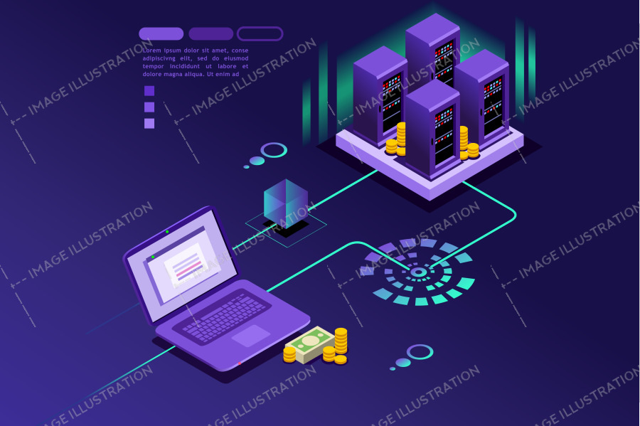 Transaction records of internet customer. Technology of internet payment concept. Isometric infographic vector design.
