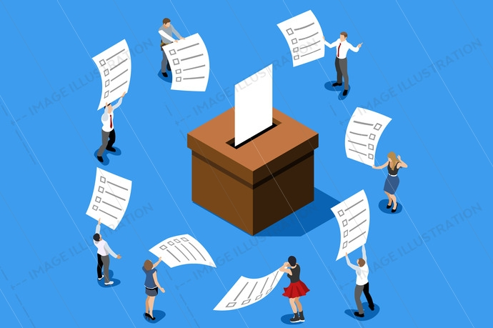 Voting concept repredenting vote choice. People putting big paper into vote box. Isometric design vector illustration.