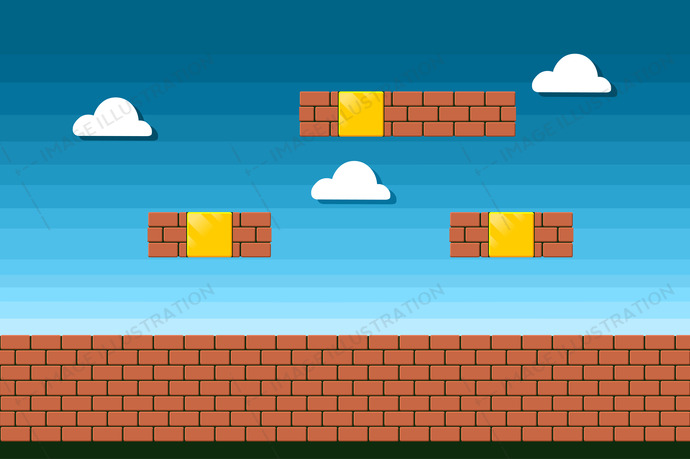 Old device display classic style entertainment. Arcade brick style background. Vector design.