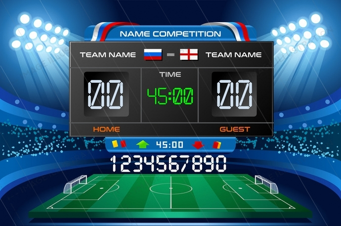 Electronic scoreboard displaying match results. Vector illustration.