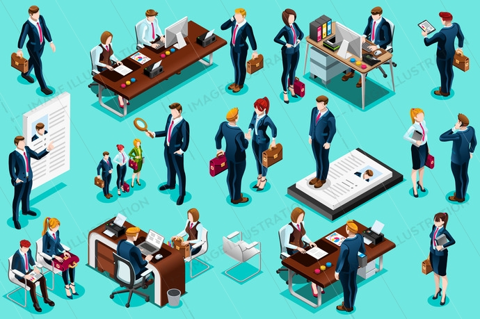 Employment selection agency concept with isolated set of isometric people seeking an employment. Vector design.