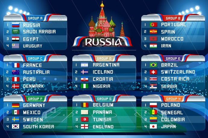 Football world cup groups. Vector flag collection. 2018 soccer world tournament in russia. World football cup. Nations flags info graphic. Set of different flags illustration.