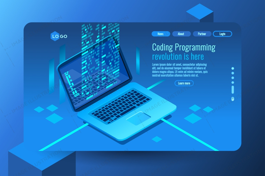 Coding concept with program processing data on pc monitor. Isometric images. Vector design of data coding concept. Blue decorative illustration