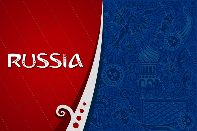Russian red background world. Russia pattern with modern and traditional elements. 2018 trend vector illustration.
