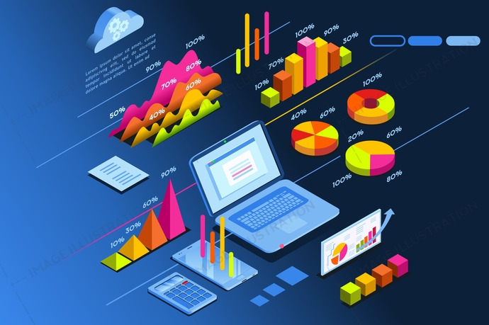 Laptop monitor showing investment planning page. Isometric icon for web site banner. Vector design.