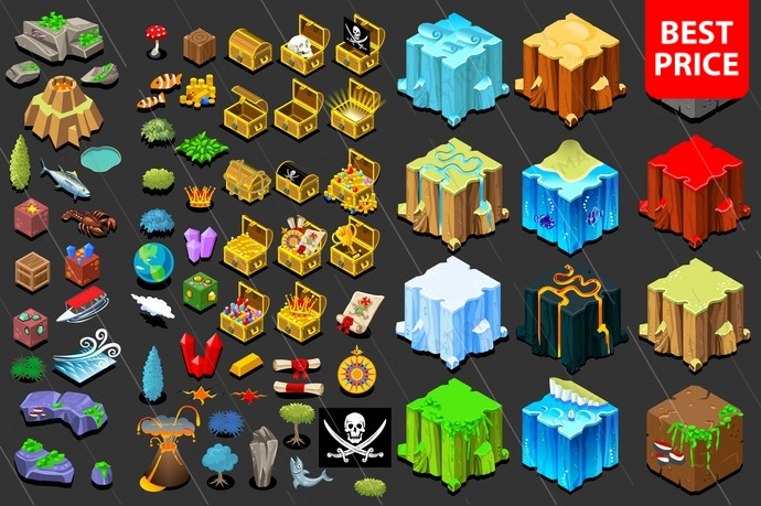 Isometric game nature and treasure icons. Natural ground tile tool with isometric water or ice blocks. Fantasy vector design.