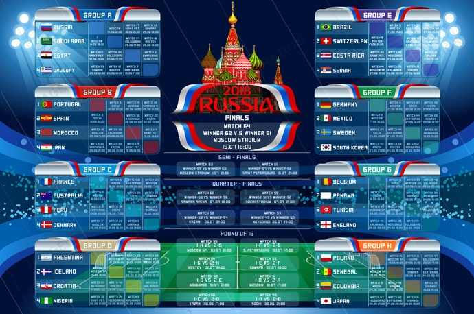 Russia 2018 world cup calendar. Soccer schedule table template vector illustration. Final results with flags of countries match date time and location.