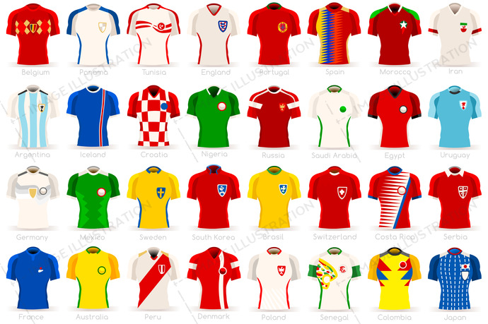 Football world cup countries jersey and team icons. Vector design. Football  players collection. cafbfb6e6