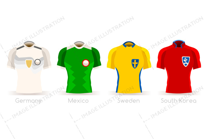 Soccer world cup a group of players with team shirts flags and ball. Referee football vector illustration.
