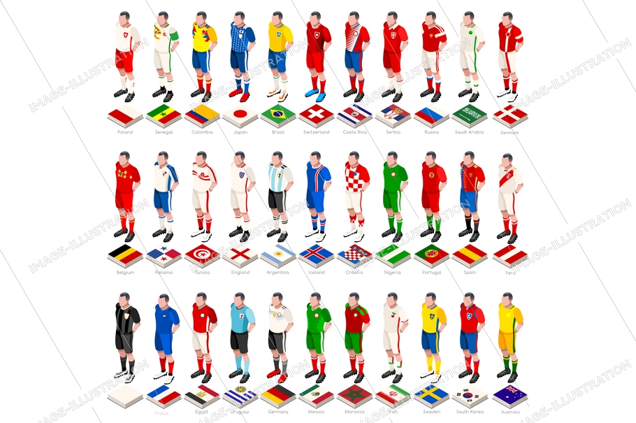 7fbb50d3e Football world cup kit countries jersey and flag icons. Isometric  illustration. Vector design.