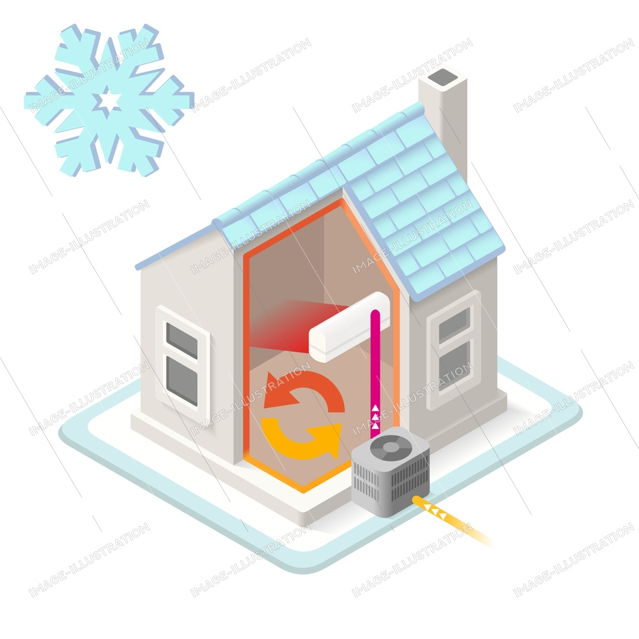 Air conditioning, house cooling system infographic, isometric diagram. Isometric building 3D vector elements. Air Conditioner chart, scheme Illustration.