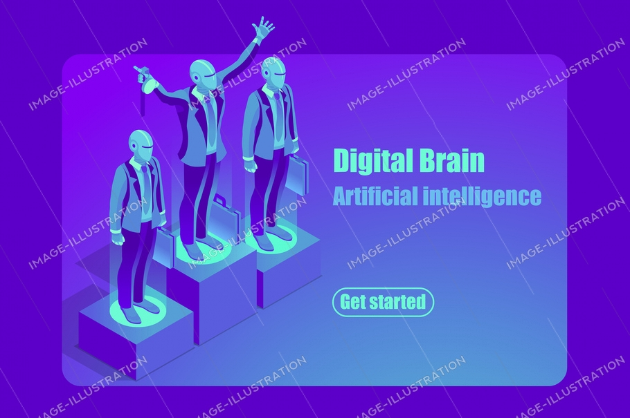 Artificial intelligence ai isometric concept. Can use for web banner, infographics, hero images. Flat isometric vector illustration isolated on blue violet neon background.