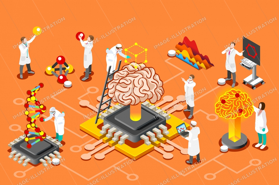 Brain with chip, artificial intelligence and human science research. Isometric images can use for web banner, infographics, hero images. Flat isometric vector illustration.