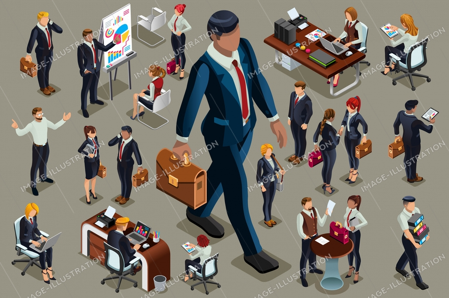 Businessmen people in dark suit, isometric people in dark business suit.