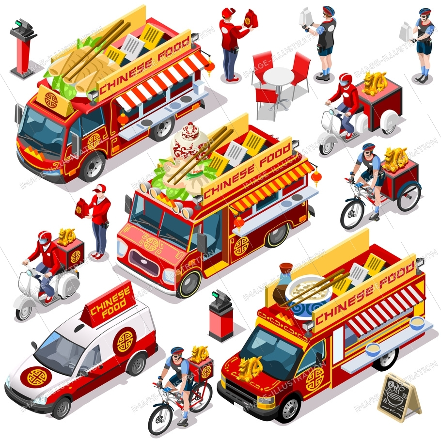 Chinese restaurant take away isolated food truck and white car or van for fast home delivery vector infographic bundle. 3d isometric people delivery man processing online order at client customer door