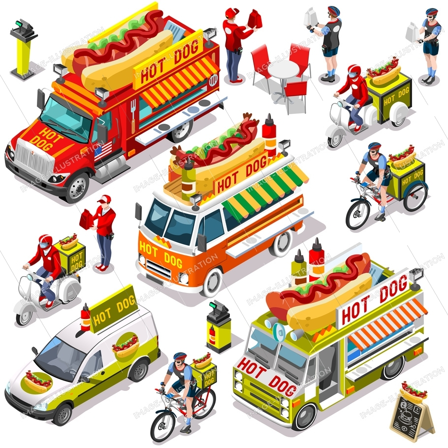 Hot dog take away isolated food truck and white car or van for fast home delivery vector infographic bundle. 3d isometric people delivery man processing online order at the client customer door