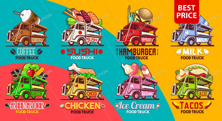 Fast food truck van logotype for restaurant shop store delivery service business icon symbol or summer retro food festival vector logo bundle