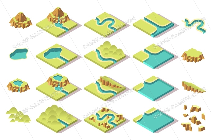 Collection of isometric tileset for building an isometric game. Natural tiles with road, mountain, river, lake and hills. Nature set of elements. This is an image illustration unique content.