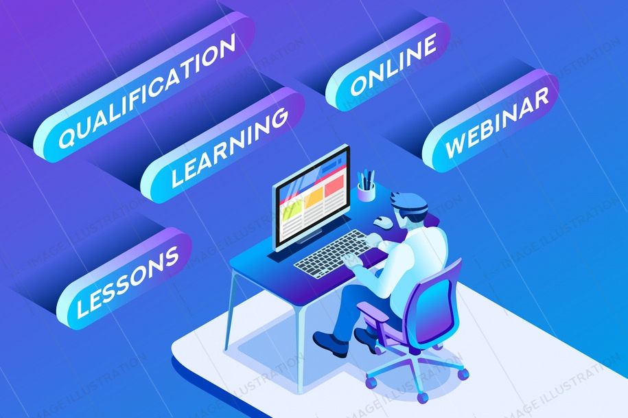 Learning online concept or working online concept with learning sitting man, blue conceptual isometric infographic, vector illustration