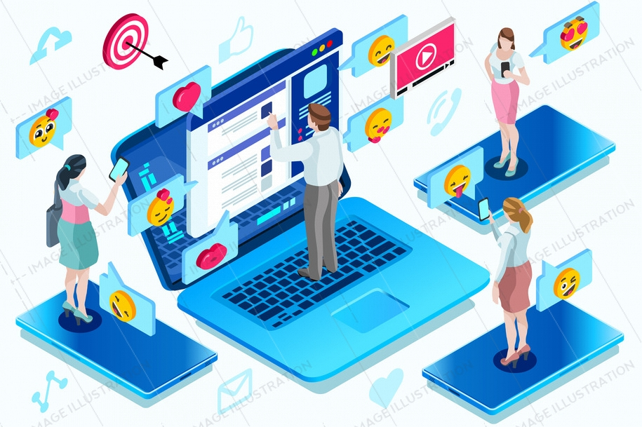 Global modern correspondence a network with a different communication. Isometric people vector illustration.