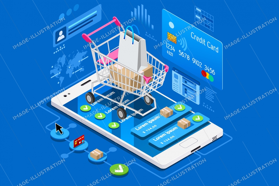 Phone shop with credit card on ecommerce interface. Can use for web banner, infographics, hero images. Flat isometric vector illustration isolated on blue background.
