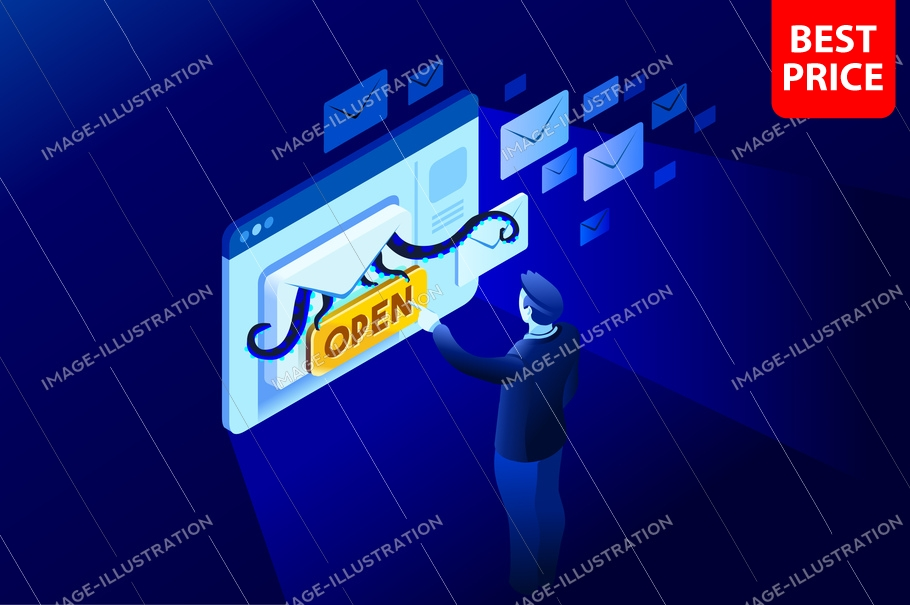 Receiving a spam email from a contact or a newsletter. Isometric illustration for web banner, infographics, hero images. Flat vector illustration isolated on blue background.