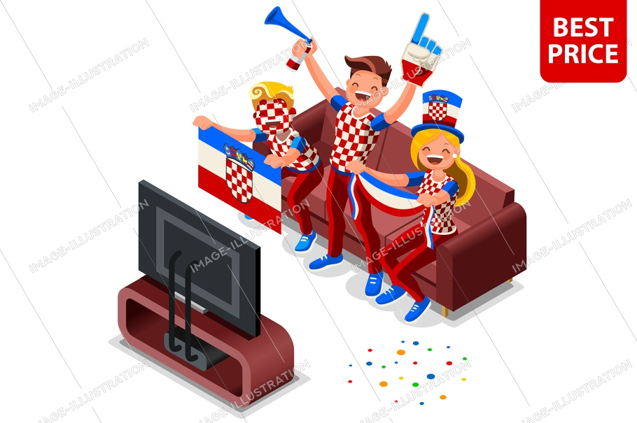 Russia 2018 world cup, croatians football fans. Cheerful soccer fans, supporters crowd and croatia flag. Croatians national day. Isometric people, vector illustration sports images. White background