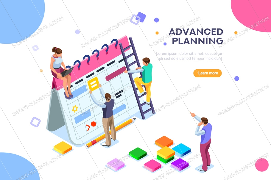 Isolated schedule concept or planner. Planning sticker, management images. Characters and people for presentations, professional clipart, web banner, infographics. Flat isometric vector illustration.
