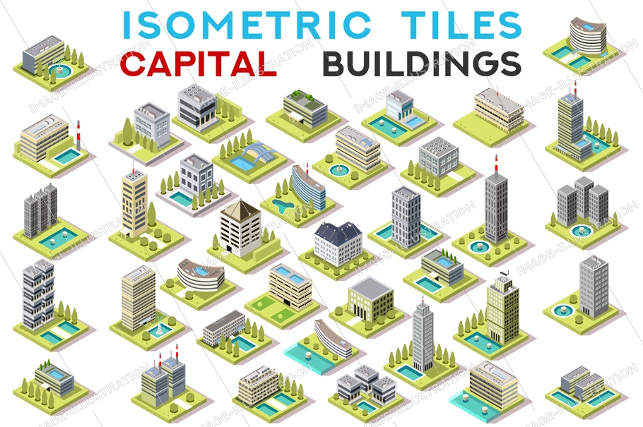 Isometric city buildings, tileset for building a map on isometric game. Capital set, vector detailed and isolated buildings.