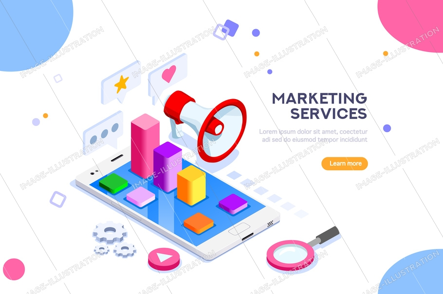 Agency and digital marketing concept. Social media for web. Can use for web banner, infographics, hero images. Flat isometric vector illustration isolated on white background.