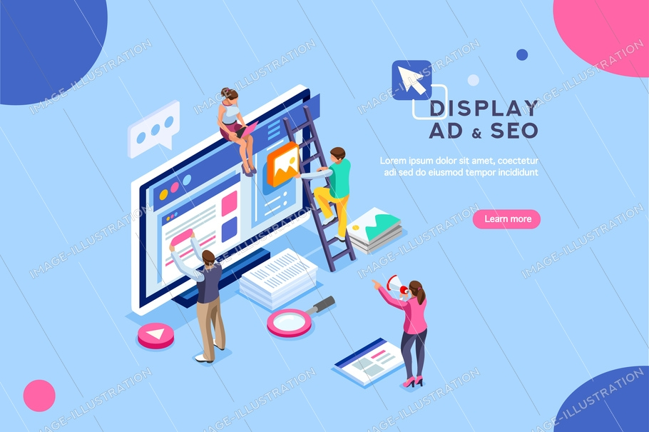 Seo optimization, website pay per click concept. Development group characters, team work together on web images. People flat isometric infographics or banner. Illustration isolated on white background