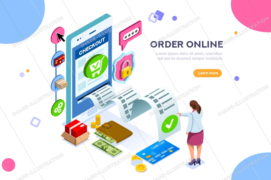 Analysis, statistics, online services. Financial transaction, mobile bank on smartphone. Images can used for web banner or infographics. Flat isometric vector illustration isolated on white background