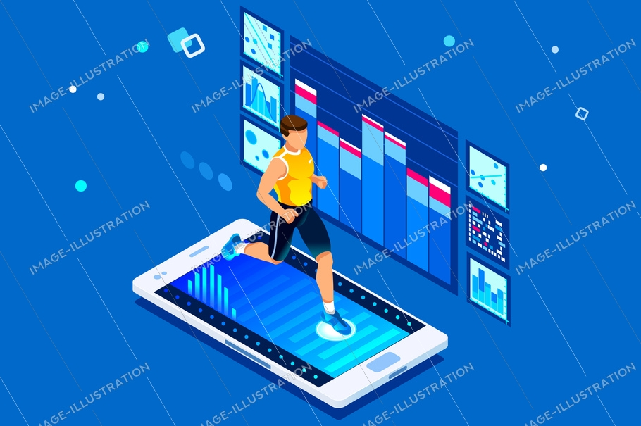 Isometric man running. Workout for wellness and activity of muscles. Male healthcare. Flat isometric vector illustration isolated on white background.