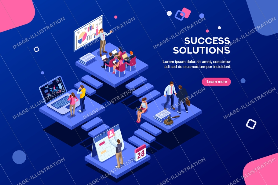 Isometric analysis, data investment for project. Solutions, visualization, analyzing of success. Business workplace, consulting app, career website, mobile website. Small office group modern homepage.