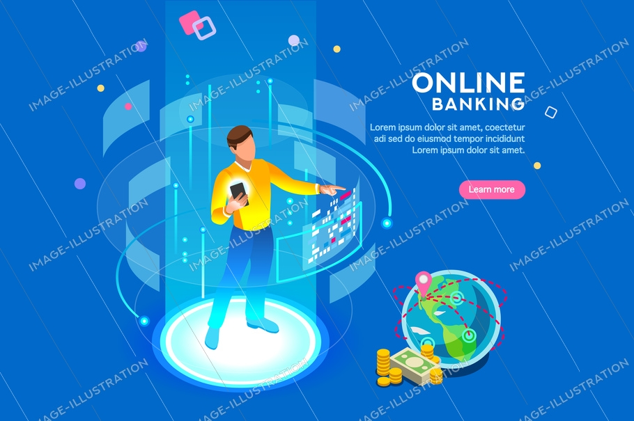 Vr, virtual augmented reality and futuristic banking concept with characters. Gadget of the future, smartphone tech for payment. Flat isometric character vector illustration.