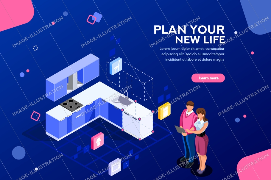 Real estate looking and buying, then moving cardboard on that space. Couple planning on online tablet interface together. Home research concept with characters. Flat isometric vector illustration.