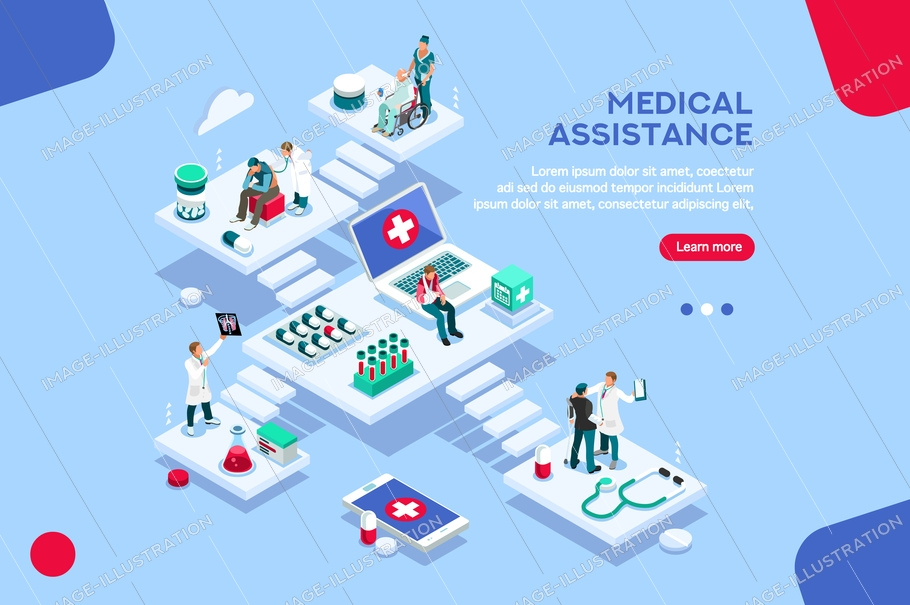 Persons at office, medical assistance. Patient room with healthcare insurer. Clinic insure a doctor. Insurance and assistance for physician. Concept with characters. Flat isometric vector illustration