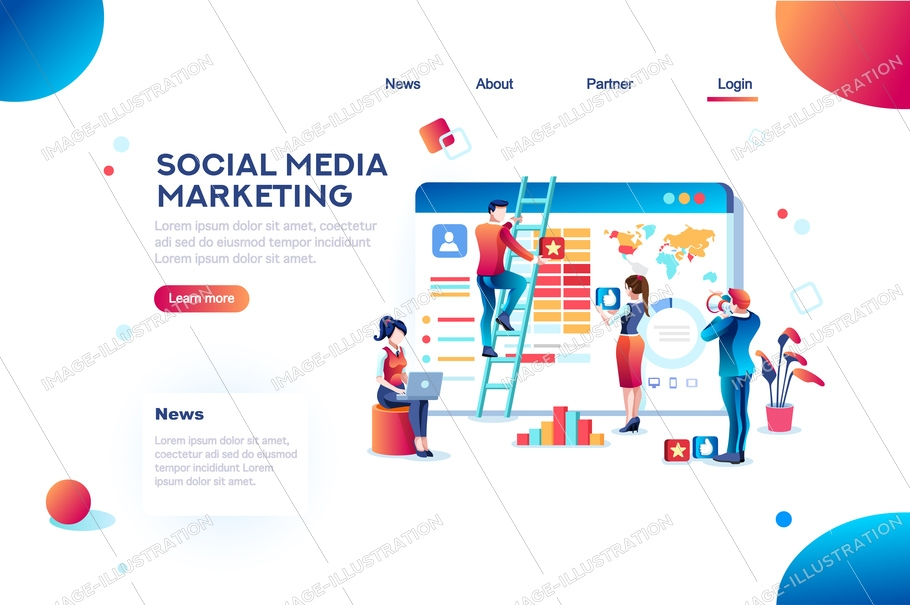 Social media marketing development, customer analysis, content analytics. Analyzing professional audience, advertisement like. Advertising target concept. Character, flat isometric vector illustration
