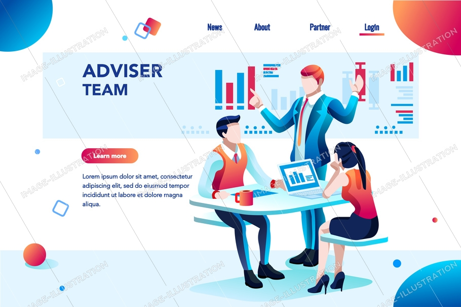 Analyst, financial banner. Planner, corporate earning calculate, data discussion. Consultant concept, characters, text on flat isometric emblem. Flowchart icons, infographic images vector illustration