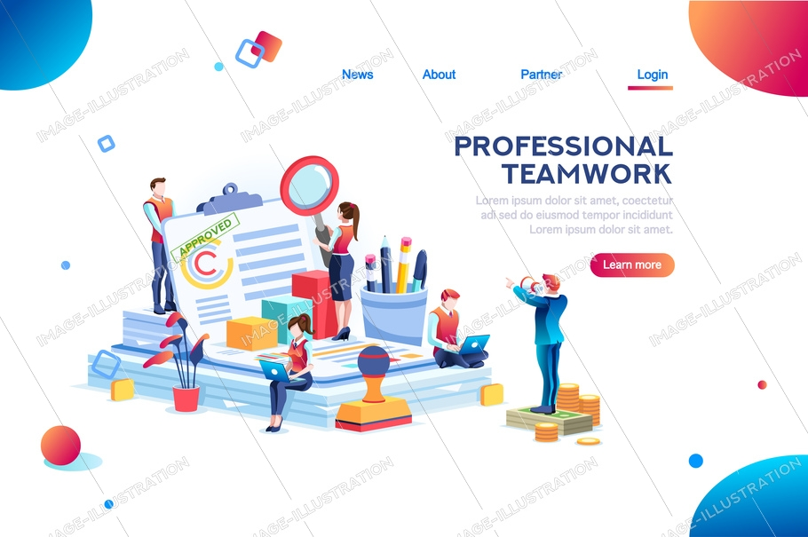 Work at office, official document clipart. Finance copy, glass, pencils, stamp and paperwork. Printed job or commercial data concept with characters and text. Flat isometric vector illustration.