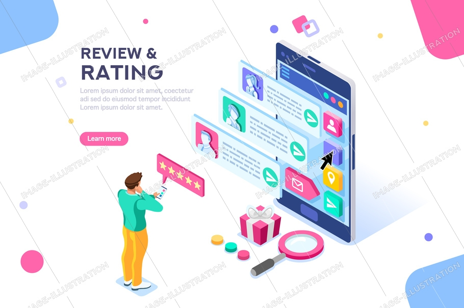 Chat, best community customer review, communication, satisfaction of buying products. Connection, scale for rating concept with icons. Flat isometric vector illustration.