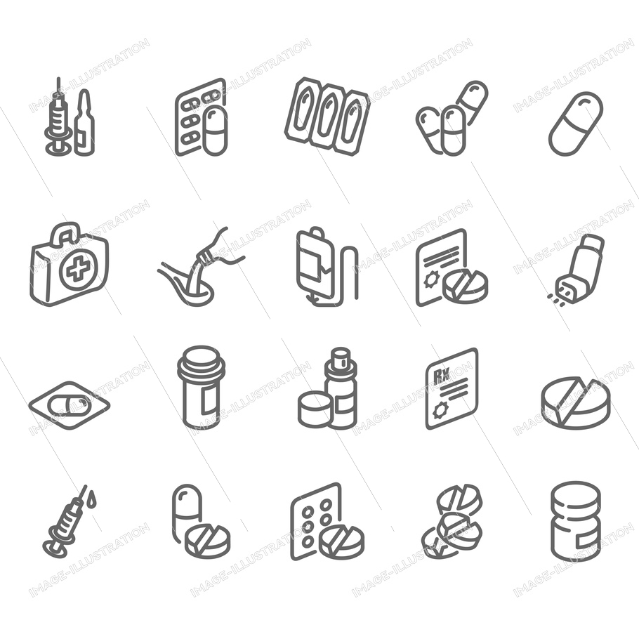 Bottle with recipe, spoon and vitamin perfect drop. Illness illustrations, editable vector and more medicine like spray or medical drugs icons collection.