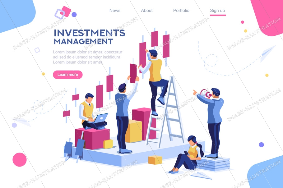 Alternative progress, building ad, investment management for company. Joint markets and move up deal. Bank career growth for success. Flat ambition concept with character isometric vector illustration