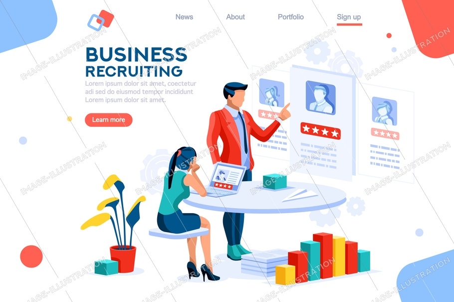 Infographic of employment leadership. Recruit for business, recruitment presentation. Job hr resource, businessman employer character with text. Flat isometric concept vector illustration.
