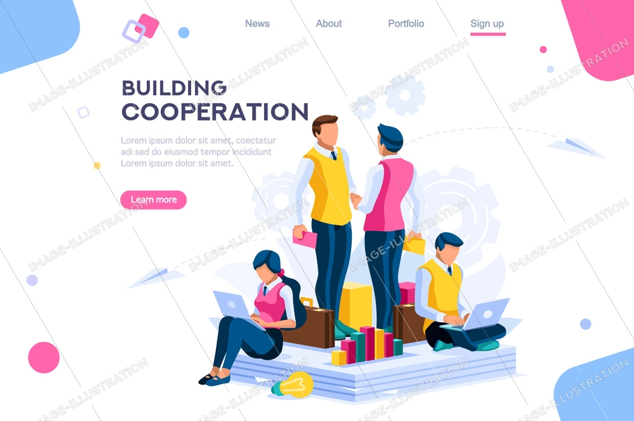Message for cooperation, graphs of community plan. Pay for building a company conversation. Development metaphor, join persons on a series of plant solutions. Factory flat modern vector illustration.